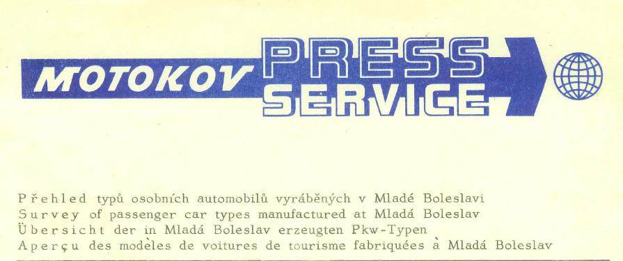 Übersicht der in Mlada Boleslav erzeugten Pkw - Typen