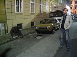"""Skoda beim Dreh von """"Schwarze Blumen"""" 11.04.2008"""
